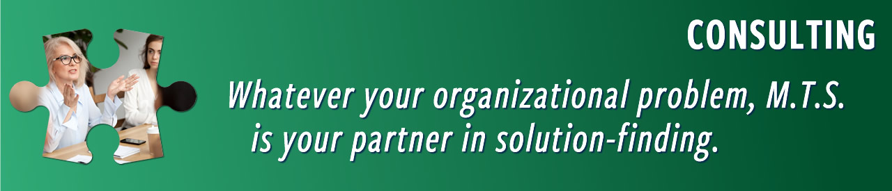 Whatever your organizational problem, M.T.S. is your partner in solution-finding.