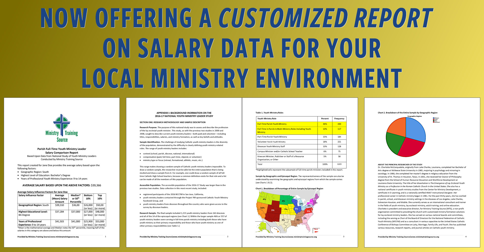 Now offering a customized report on salary data for your local ministry environment.